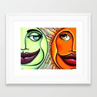 sun and moon Framed Art Prints featuring Moon & Sun by spasticlizard