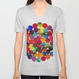 Colored Circles in watercolor Unisex V-Neck