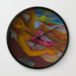 Classical Masterpiece 'The Hammock' by Diego Rivera Wall Clock