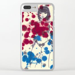 Woman in Blue and Red Clear iPhone Case