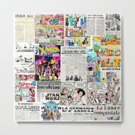 Newspapers and comics (collage) Metal Print