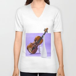 Still life with violin and white vases on a purple Unisex V-Neck