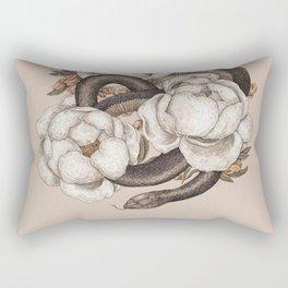 Snake and Peonies Rectangular Pillow