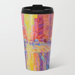 Rain in New York - palette knife figurative urban cityscape by Adriana Dziuba Metal Travel Mug