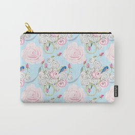 Shabby Chic Bluebirds and Watercolor Roses on pale blue Carry-All Pouch