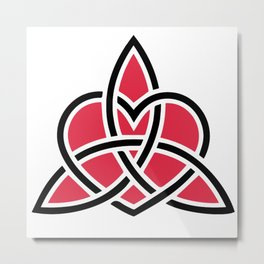 Triquetra Knot With Heart Symbol Metal Print