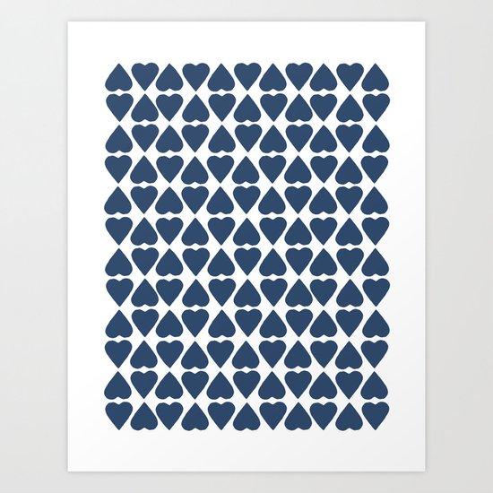 Diamond Hearts Repeat Navy Art Print