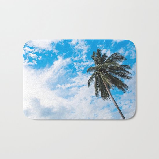 Palm Tree under Blue and White Bath Mat