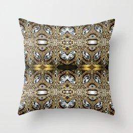 trendy girly fashion silver diamond rhinestone champagne gold  Throw Pillow