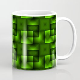 Cubes of green rhombuses and black strict triangles. Coffee Mug