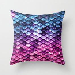 Mermaid Tail Pink Purple Blue Throw Pillow