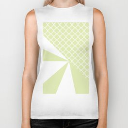Geometric green white quatrefoil color block pattern Biker Tank