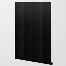"""""""Black & Grey Burlap Texture & Polka Dots"""" Wallpaper"""