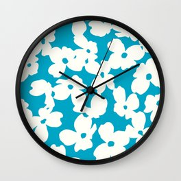 Dogwood: Caribbean Blue Wall Clock