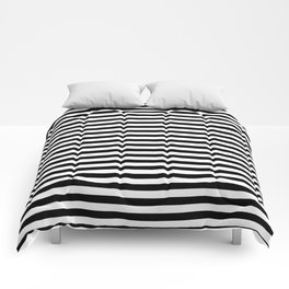 Midnight Black and White Horizontal Deck Chair Stripes Comforters