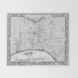 Vintage Map of Philadelphia Pennsylvania (1860) BW Throw Blanket