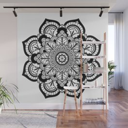 Black and White Flower Wall Mural