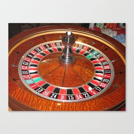 Wooden Roulette wheel casino gaming Canvas Print