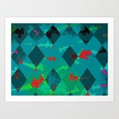 Argyle Frenzy in Larimar Art Print