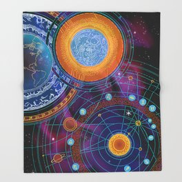 MOON AND PLANETS Throw Blanket