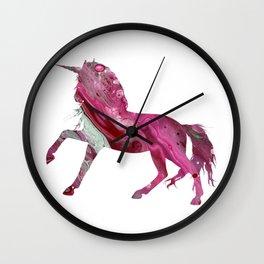 Pink Fluid Acrylic Unicorn Image Print Wall Clock