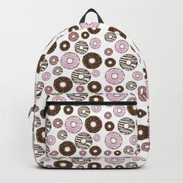 Pattern Of Donuts, Sprinkles, Icing - Pink Brown Backpack