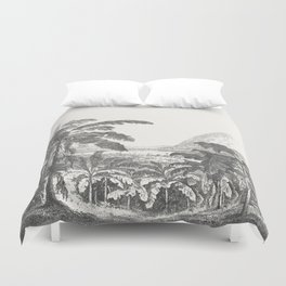 Palms and Mountain Duvet Cover