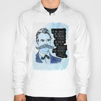 nietzsche Hoodies featuring Nietzsche and the Abstract Truth - Watercolor Version by Alexandra Ensign