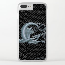 Dragon Letter E, from Dracoserific, a font full of Dragons. Clear iPhone Case