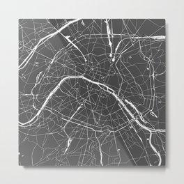 Paris France Minimal Street Map - Grey on White Metal Print