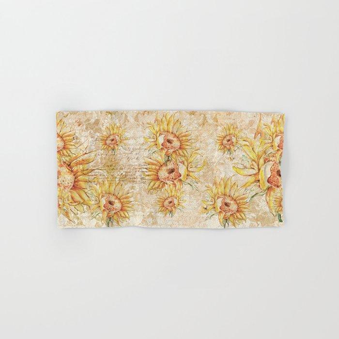 Vintage Sunflowers #5 Hand & Bath Towel