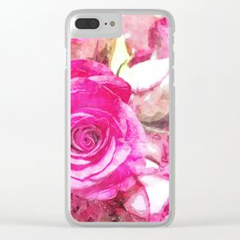Bunch of Pink roses (watercolour) Clear iPhone Case