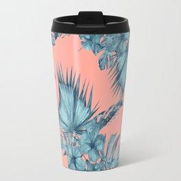 Dreaming of Hawaii Teal Blue on Coral Pink Travel Mug