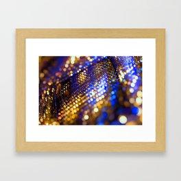 Gold Blue bokeh Framed Art Print