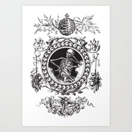 1861 Death Skeleton Black Art Print
