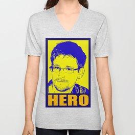 Edward Snowden Hero Unisex V-Neck