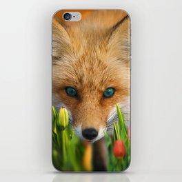 fox in tulips iPhone Skin