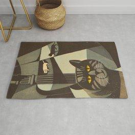Inagaki Tomoo Vintage Japanese Woodblock print mid century Modern Cubism Art Cats Feline Rug