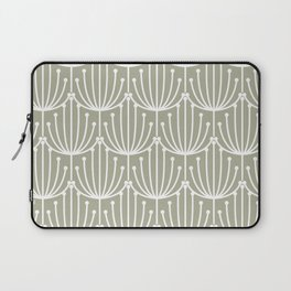 Retro Art, Floral Prints, Light Sage Green and White Laptop Sleeve