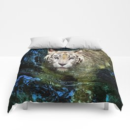 White Tiger In Blue Water Comforters