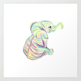 Colorful Baby Elephant In Bright Colors Art Print