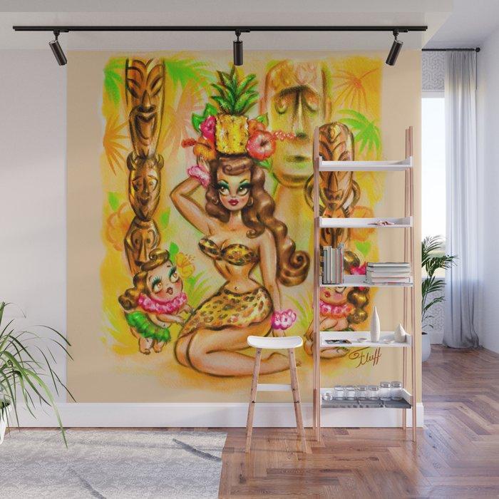 Pineapple Island Girl with Tikis Wall Mural