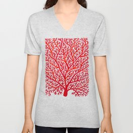 Red Fan Coral Unisex V-Neck