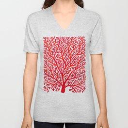 Red Fan Coral Unisex V-Neck