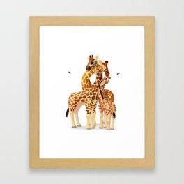 Cute giraffes loving family Framed Art Print