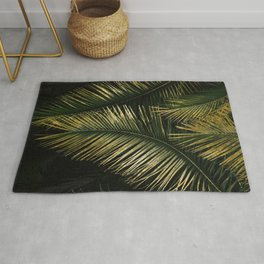 Golden Moments Tropical Palm Leaf Glamour Rug