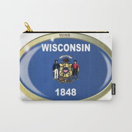 Wisconsin State Flag Oval Button Carry-All Pouch