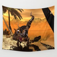 t rex Wall Tapestries featuring T-rex with armor by nicky2342