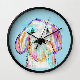 Doodle painted dog colorful artwork  Wall Clock