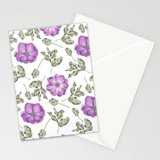 Chic Purple Anemone Flower Pattern Stationery Cards